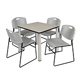 Regency Kee 30 Square Breakroom Table- Maple/ Chrome & 4 Zeng Stack Chairs- Grey