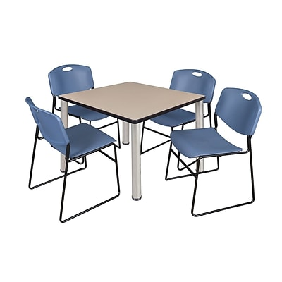 Regency Kee 36 Square Breakroom Table- Beige/ Chrome & 4 Zeng Stack Chairs- Blue