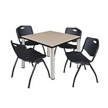 Regency Kee 36 Square Breakroom Table- Beige/ Chrome & 4 M Stack Chairs- Black