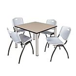Regency Kee 36 Square Breakroom Table- Beige/ Chrome & 4 M Stack Chairs- Grey