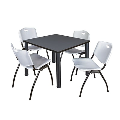 Regency Kee 36 Square Breakroom Table- Grey/ Black & 4 M Stack Chairs- Grey