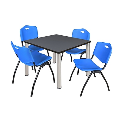 Regency Kee 36 Square Breakroom Table- Grey/ Chrome & 4 M Stack Chairs- Blue