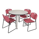 Regency Kee 48 Round Breakroom Table- Maple/ Chrome & 4 Zeng Stack Chairs- Burgundy [TB48RNDPLBPCM4