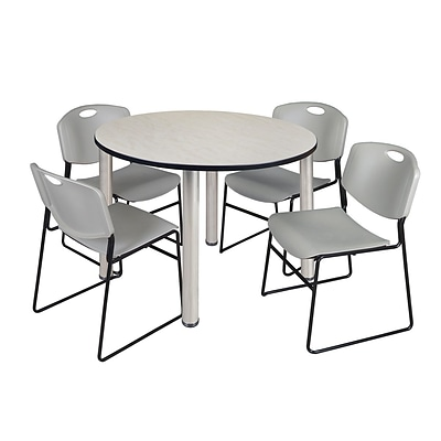 Regency Kee 48 Round Breakroom Table- Maple/ Chrome & 4 Zeng Stack Chairs- Grey [TB48RNDPLBPCM44GY]