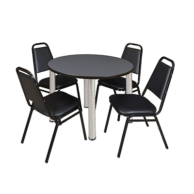 Regency Kee 42 Round Breakroom Table- Grey/ Chrome & 4 Restaurant Stack Chairs- Black [TB42RNDGYBPCM29BK]