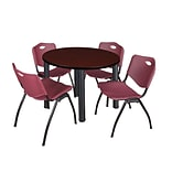 Regency Kee 42 Round Breakroom Table- Mahogany/ Black & 4 M Stack Chairs- Burgundy [TB42RNDMHBPBK