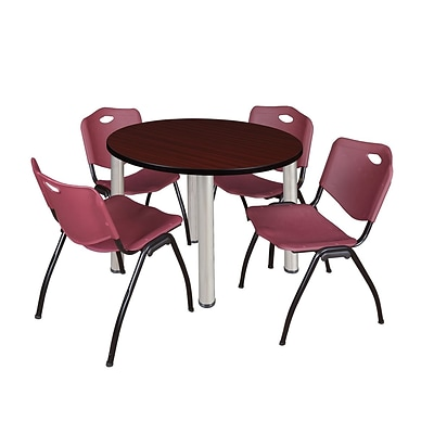 Regency Kee 42 Round Breakroom Table- Mahogany/ Chrome & 4 M Stack Chairs- Burgundy [TB42RNDMHBPCM47BY]