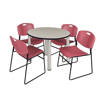 Regency Kee 42 Round Breakroom Table- Maple/ Chrome & 4 Zeng Stack Chairs- Burgundy [TB42RNDPLBPCM44BY]