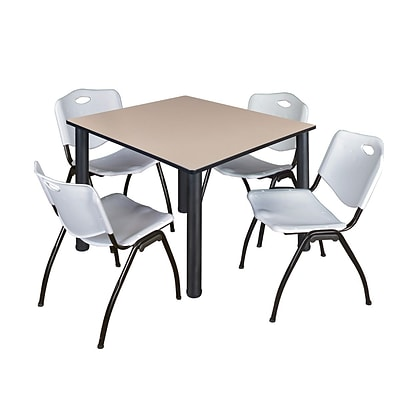 Regency Kee 48 Square Breakroom Table- Beige/ Black & 4 M Stack Chairs- Grey [TB4848BEBPBK47GY]