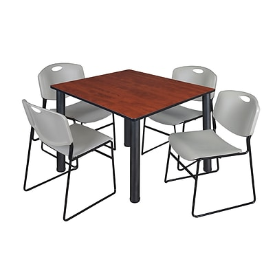 Regency Kee 48 Square Breakroom Table- Cherry/ Black & 4 Zeng Stack Chairs- Grey [TB4848CHBPBK44GY]