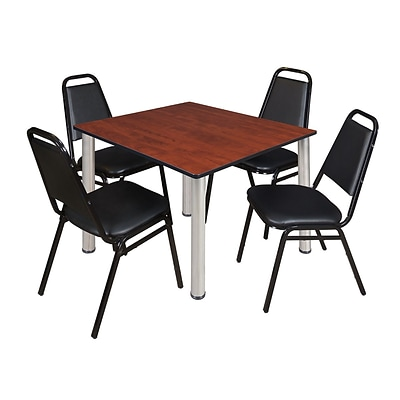 Regency Kee 48 Square Breakroom Table- Cherry/ Chrome & 4 Restaurant Stack Chairs- Black [TB4848CHBPCM29BK]