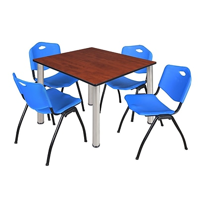 Regency Kee 48 Square Breakroom Table- Cherry/ Chrome & 4 M Stack Chairs- Blue [TB4848CHBPCM47BE]