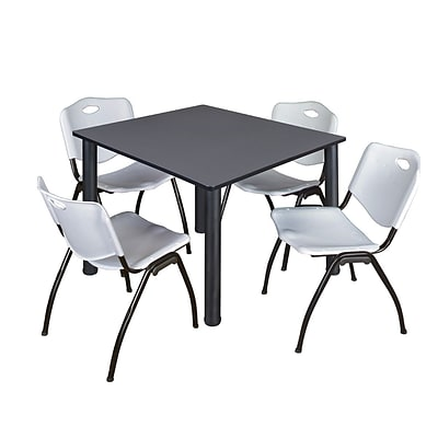 Regency Kee 48 Square Breakroom Table- Grey/ Black & 4 M Stack Chairs- Grey [TB4848GYBPBK47GY]