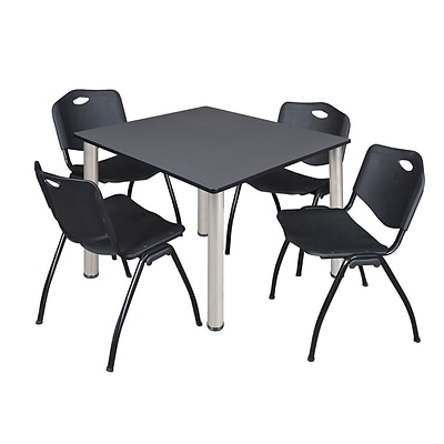 Regency Kee 48 Square Breakroom Table- Grey/ Chrome & 4 M Stack Chairs- Black [TB4848GYBPCM47BK]