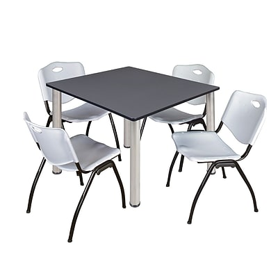 Regency Kee 48 Square Breakroom Table- Grey/ Chrome & 4 M Stack Chairs- Grey [TB4848GYBPCM47GY]