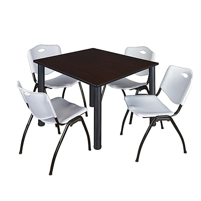 Regency Kee 48 Square Breakroom Table- Mocha Walnut/ Black & 4 M Stack Chairs- Grey [TB4848MWBPBK47GY]