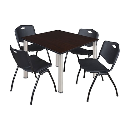 Regency Kee 48 Square Breakroom Table- Mocha Walnut/ Chrome & 4 M Stack Chairs- Black [TB4848MWBPCM47BK]
