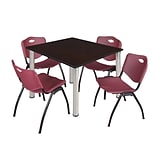 Regency Kee 48 Square Breakroom Table- Mocha Walnut/ Chrome & 4 M Stack Chairs- Burgundy [TB4848M