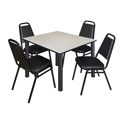 Regency Kee 48 Square Breakroom Table- Maple/ Black & 4 Restaurant Stack Chairs- Black [TB4848PLBPBK29BK]