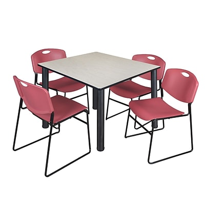 Regency Kee 48 Square Breakroom Table- Maple/ Black & 4 Zeng Stack Chairs- Burgundy [TB4848PLBPBK44BY]