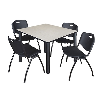 Regency Kee 48 Square Breakroom Table- Maple/ Black & 4 M Stack Chairs- Black [TB4848PLBPBK47BK]