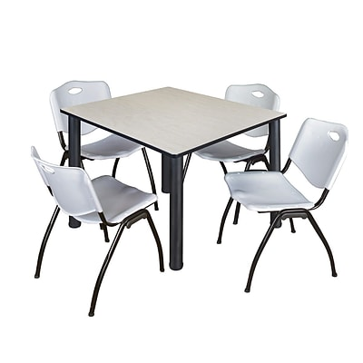 Regency Kee 48 Square Breakroom Table- Maple/ Black & 4 M Stack Chairs- Grey [TB4848PLBPBK47GY]