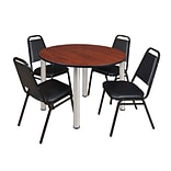 Regency Kee 48 Round Breakroom Table- Cherry/ Chrome & 4 Restaurant Stack Chairs- Black [TB48RNDCHB