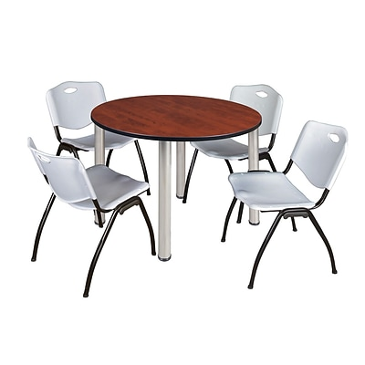 Regency Kee 48 Round Breakroom Table- Cherry/ Chrome & 4 M Stack Chairs- Grey [TB48RNDCHBPCM47GY]