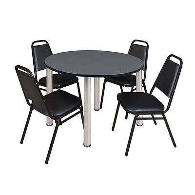 Regency Kee 48 Round Breakroom Table- Grey/ Chrome & 4 Restaurant Stack Chairs- Black [TB48RNDGYBPCM29BK]
