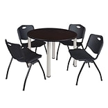 Regency Kee 48 Round Breakroom Table- Mocha Walnut/ Chrome & 4 M Stack Chairs- Black [TB48RNDMWBP