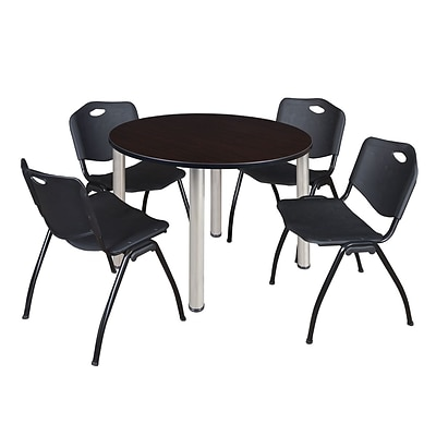 Regency Kee 48 Round Breakroom Table- Mocha Walnut/ Chrome & 4 M Stack Chairs- Black [TB48RNDMWBPCM47BK]