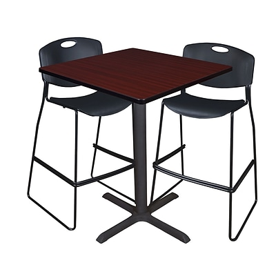 Regency Cain 36 Square Cafe Table- Mahogany & 2 Zeng Stack Stools- Black