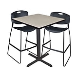 Regency Cain 36 Square Cafe Table- Maple & 2 Zeng Stack Stools- Black