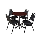Regency Cain 30 Round Breakroom Table- Mahogany & 4 Restaurant Stack Chairs- Black