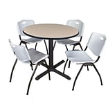 Regency Cain 36 Round Breakroom Table- Beige & 4 M Stack Chairs- Grey
