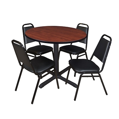 Regency Cain 36 Round Breakroom Table- Cherry & 4 Restaurant Stack Chairs- Black