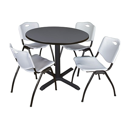 Regency Cain 36 Round Breakroom Table- Grey & 4 M Stack Chairs- Grey