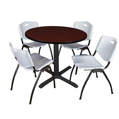 Regency Cain 36 Round Breakroom Table- Mahogany & 4 M Stack Chairs- Grey