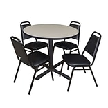 Regency Cain 36 Round Breakroom Table- Maple & 4 Restaurant Stack Chairs- Black