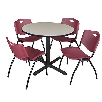 Regency Cain 36 Round Breakroom Table- Maple & 4 M Stack Chairs- Burgundy