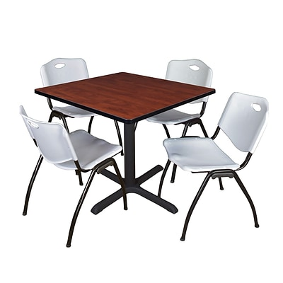Regency Cain 42 Square Breakroom Table- Cherry & 4 M Stack Chairs- Grey