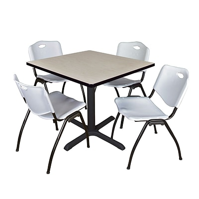 Regency Cain 42 Square Breakroom Table- Maple & 4 M Stack Chairs- Grey