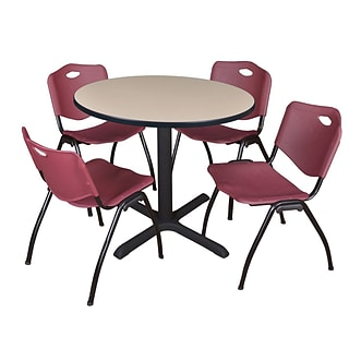 Regency Cain 42 Round Breakroom Table- Beige & 4 M Stack Chairs- Burgundy