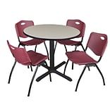 Regency Cain 42 Round Breakroom Table- Maple & 4 M Stack Chairs- Burgundy