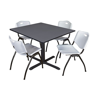 Regency Cain 48 Square Breakroom Table- Grey & 4 M Stack Chairs- Grey