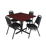 Regency Cain 48 Square Breakroom Table- Mahogany & 4 Restaurant Stack Chairs- Black
