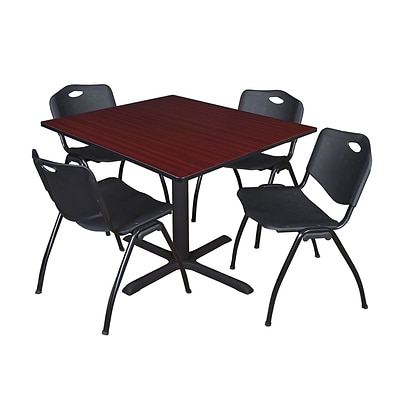 Regency Cain 48 Square Breakroom Table- Mahogany & 4 M Stack Chairs- Black
