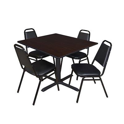 Regency Cain 48 Square Breakroom Table- Mocha Walnut & 4 Restaurant Stack Chairs- Black