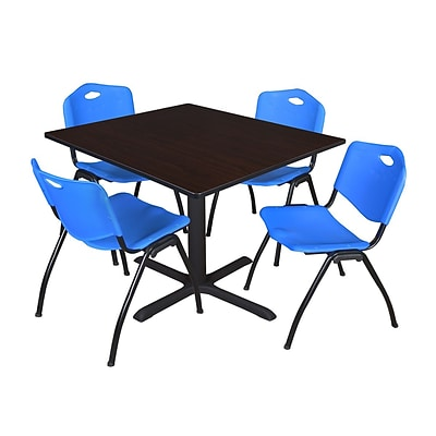 Regency Cain 48 Square Breakroom Table- Mocha Walnut & 4 M Stack Chairs- Blue