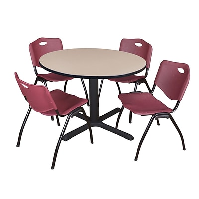 Regency Cain 48 Round Breakroom Table- Beige & 4 M Stack Chairs- Burgundy